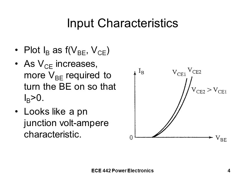 ECE 442 Power Electronics4 Input Characteristics Plot I B as f(V BE, V CE ) As V CE increases, more V BE required to turn the BE on so that I B >0.
