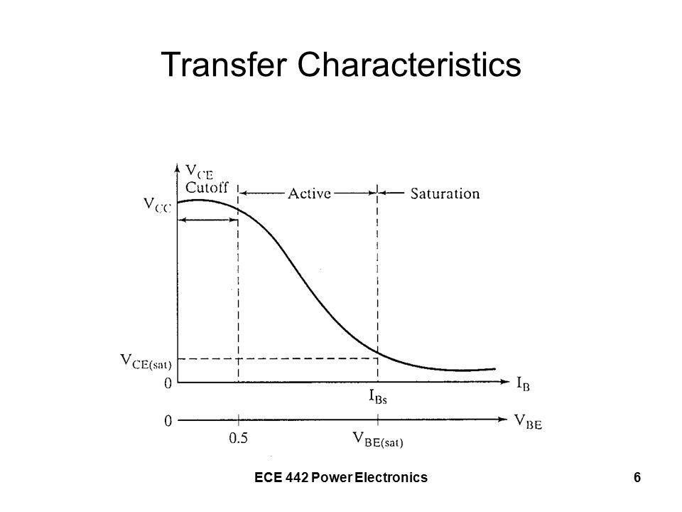 ECE 442 Power Electronics7 Large-Signal Model of a BJT KCL >> I E = I C + I B β F = h FE = I C /I B I C = β F I B + I CEO I E = I B (1 + β F ) + I CEO I E = I B (1 + β F ) I E = I C (1 + 1/β F ) I E = I C (β F + 1)/β F