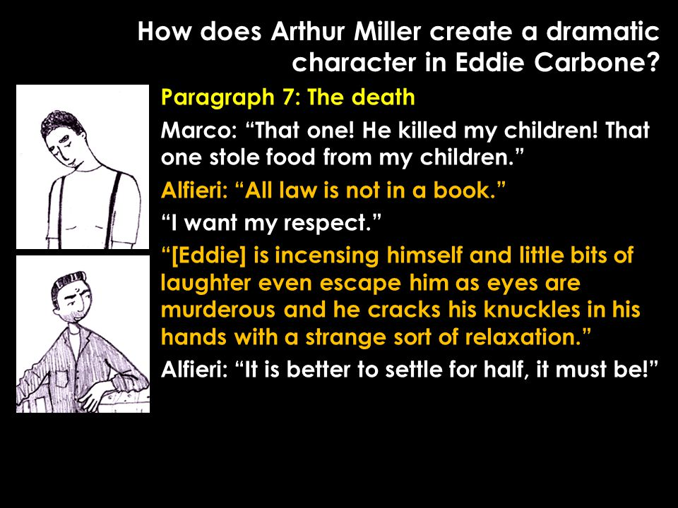 "How does Arthur Miller create a dramatic character in Eddie Carbone? Paragraph 7: The death Marco: ""That one! He killed my children! That one stole fo"