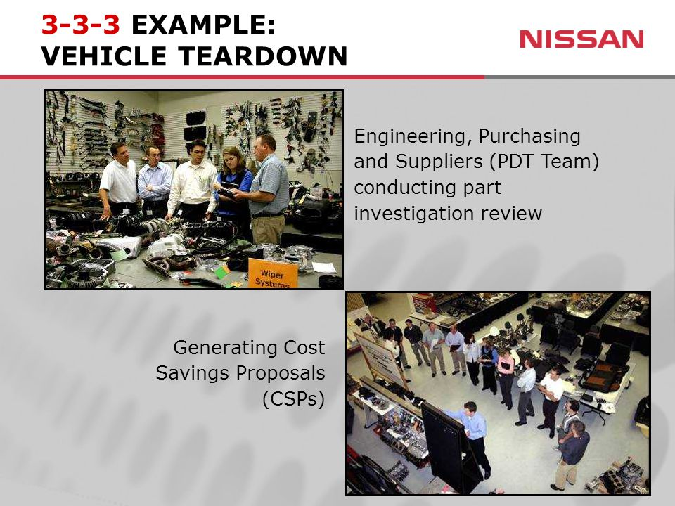 Engineering, Purchasing and Suppliers (PDT Team) conducting part investigation review Generating Cost Savings Proposals (CSPs) 3-3-3 EXAMPLE: VEHICLE TEARDOWN