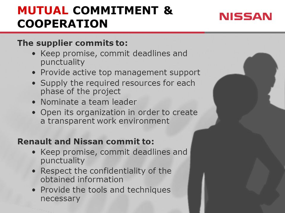 The supplier commits to: Keep promise, commit deadlines and punctuality Provide active top management support Supply the required resources for each phase of the project Nominate a team leader Open its organization in order to create a transparent work environment Renault and Nissan commit to: Keep promise, commit deadlines and punctuality Respect the confidentiality of the obtained information Provide the tools and techniques necessary MUTUAL COMMITMENT & COOPERATION