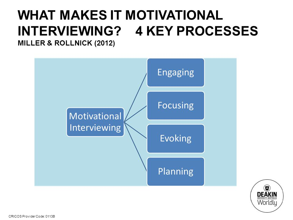 CRICOS Provider Code: 0113B WHAT MAKES IT MOTIVATIONAL INTERVIEWING.