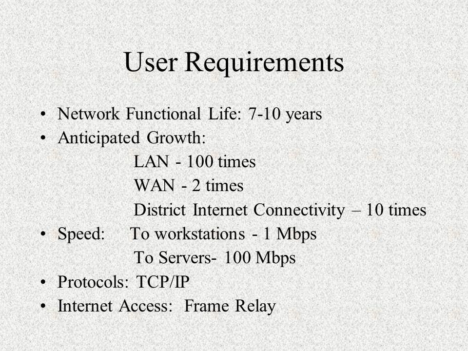 LAN Requirements LAN Infrastructure – Two LAN's LAN infrastructure based on Ethernet LAN switching.