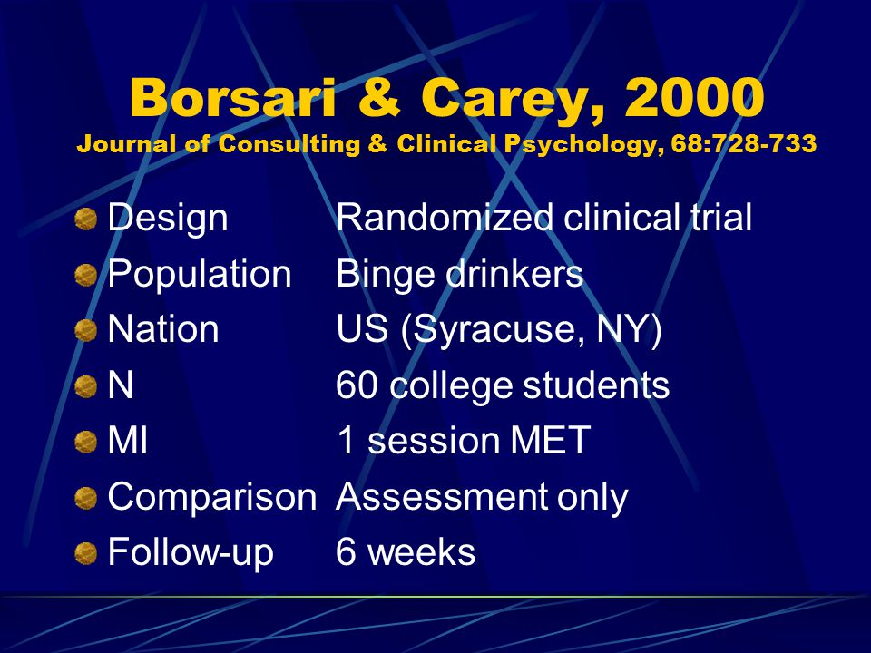 Borsari & Carey, 2000 Journal of Consulting & Clinical Psychology, 68:728-733 DesignRandomized clinical trial PopulationBinge drinkers NationUS (Syracuse, NY) N60 college students MI1 session MET ComparisonAssessment only Follow-up6 weeks