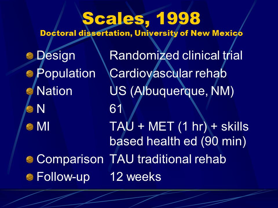 Scales, 1998 Doctoral dissertation, University of New Mexico DesignRandomized clinical trial PopulationCardiovascular rehab NationUS (Albuquerque, NM) N61 MITAU + MET (1 hr) + skills based health ed (90 min) ComparisonTAU traditional rehab Follow-up12 weeks