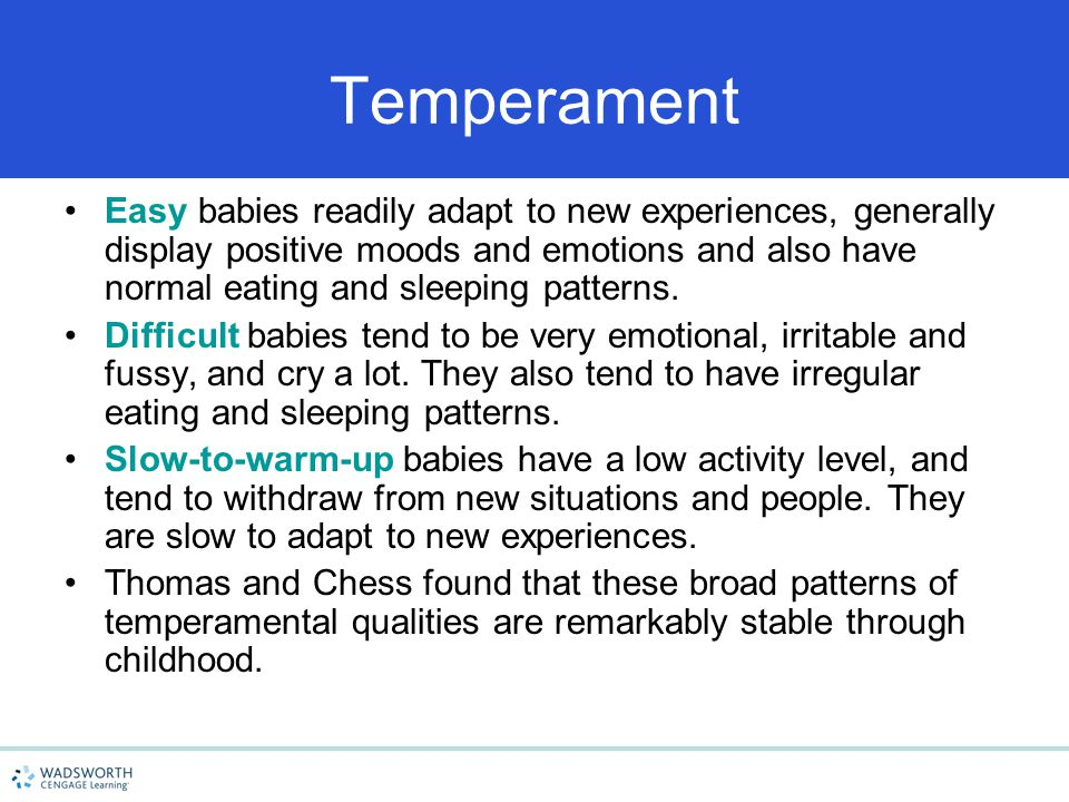 Temperament Easy babies readily adapt to new experiences, generally display positive moods and emotions and also have normal eating and sleeping patterns.