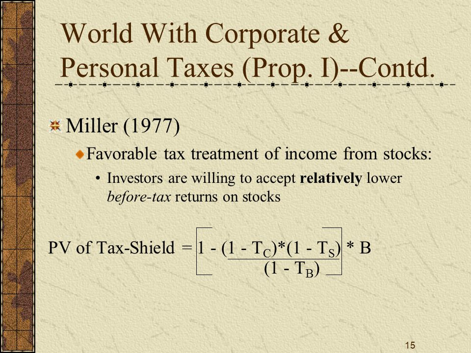 15 World With Corporate & Personal Taxes (Prop.I)--Contd.
