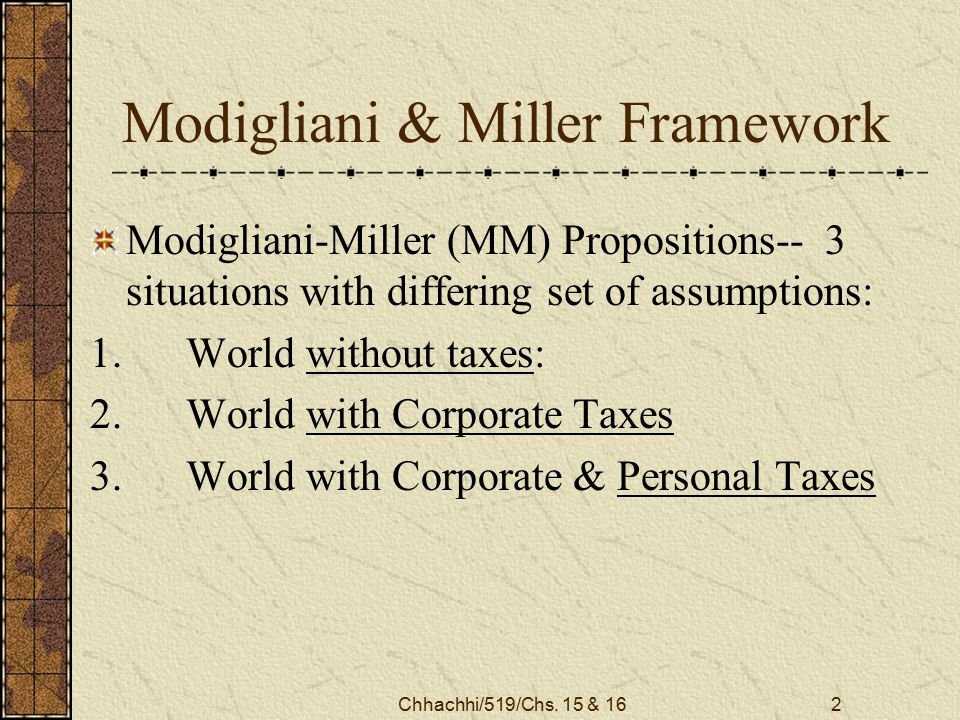 Chhachhi/519/Chs. 15 & 162 Modigliani & Miller Framework Modigliani-Miller (MM) Propositions-- 3 situations with differing set of assumptions: 1.World