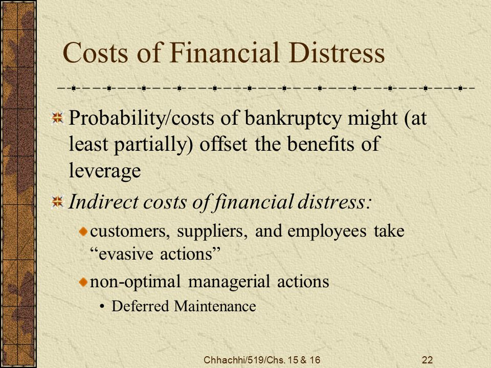 Chhachhi/519/Chs. 15 & 1622 Costs of Financial Distress Probability/costs of bankruptcy might (at least partially) offset the benefits of leverage Ind