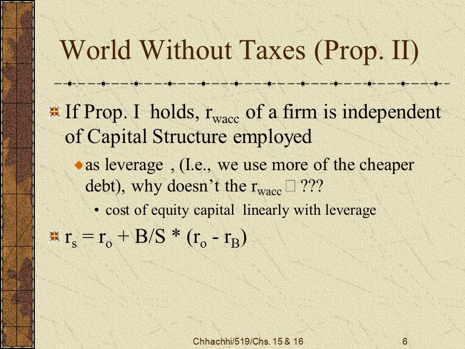 Chhachhi/519/Chs. 15 & 166 World Without Taxes (Prop.