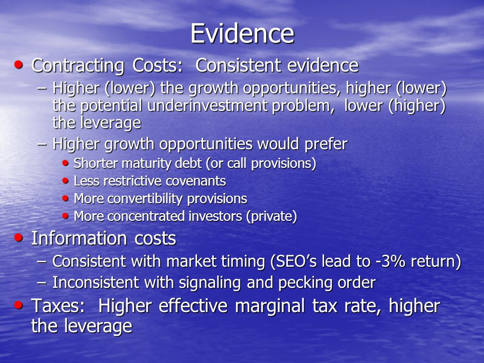 Evidence Contracting Costs: Consistent evidence Contracting Costs: Consistent evidence –Higher (lower) the growth opportunities, higher (lower) the potential underinvestment problem, lower (higher) the leverage –Higher growth opportunities would prefer Shorter maturity debt (or call provisions) Shorter maturity debt (or call provisions) Less restrictive covenants Less restrictive covenants More convertibility provisions More convertibility provisions More concentrated investors (private) More concentrated investors (private) Information costs Information costs –Consistent with market timing (SEO's lead to -3% return) –Inconsistent with signaling and pecking order Taxes: Higher effective marginal tax rate, higher the leverage Taxes: Higher effective marginal tax rate, higher the leverage