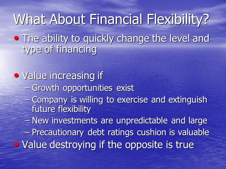 What About Financial Flexibility.