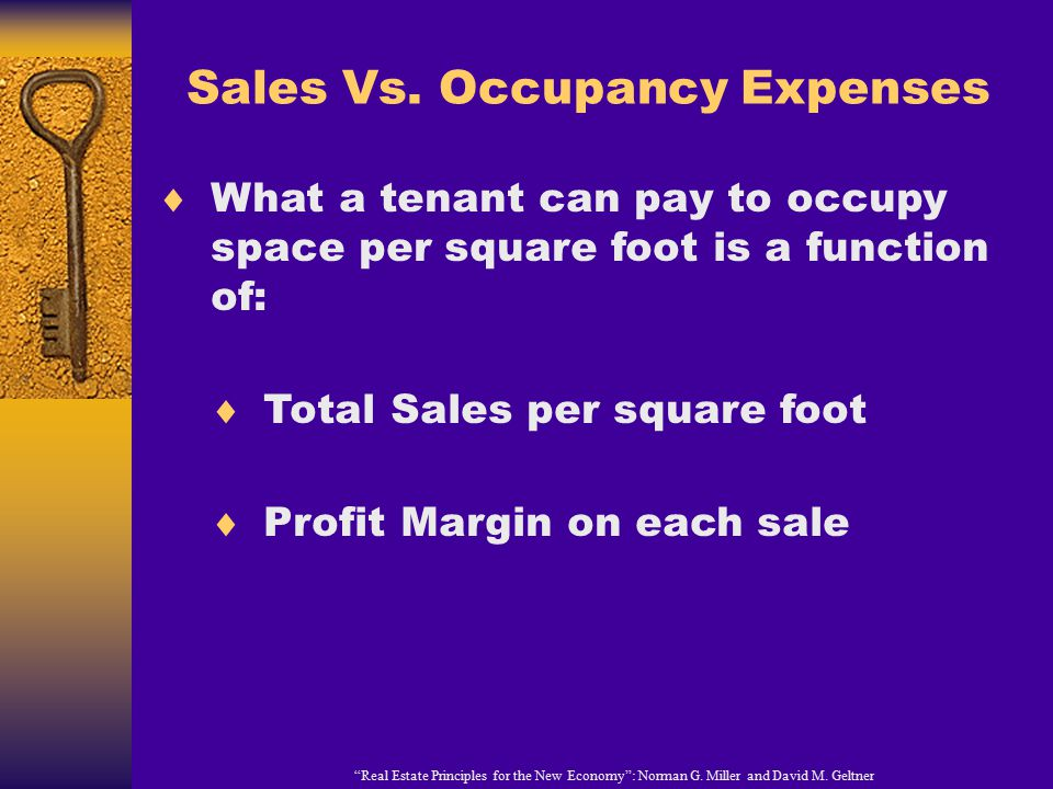 """Sales Vs. Occupancy Expenses """"Real Estate Principles for the New Economy"""": Norman G. Miller and David M. Geltner  What a tenant can pay to occupy spa"""