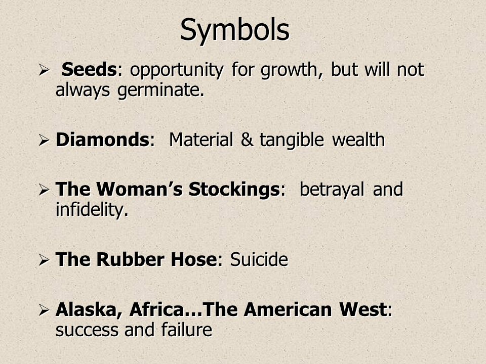 Symbols  Seeds: opportunity for growth, but will not always germinate.