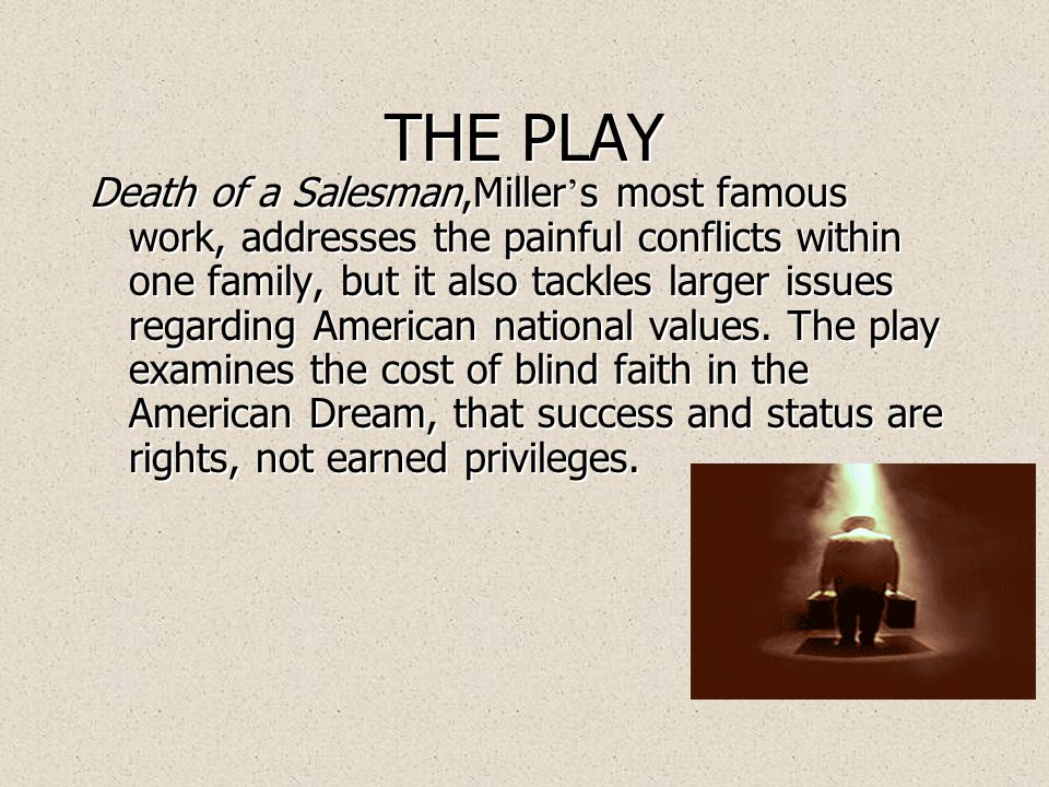 About the Playwright: Arthur Miller  Born in New York City on October 17, 1915  Began as playwright at University of Michigan  Pulitzer Prize winner for Death of A Salesman Pulitzer Prize  Double winner of New York Drama Critics Circle Award  Born in New York City on October 17, 1915  Began as playwright at University of Michigan  Pulitzer Prize winner for Death of A Salesman Pulitzer Prize  Double winner of New York Drama Critics Circle Award