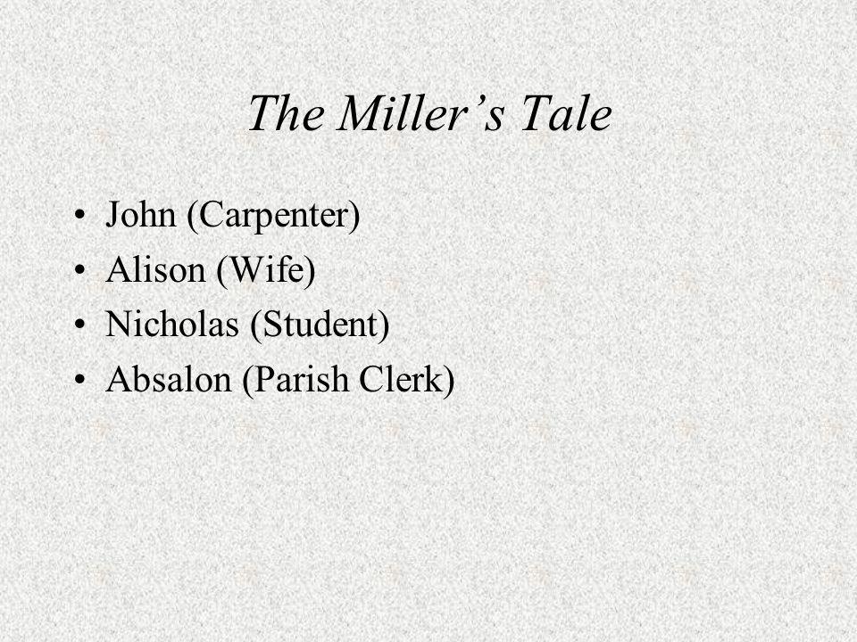 John (Carpenter) Alison (Wife) Nicholas (Student) Absalon (Parish Clerk)