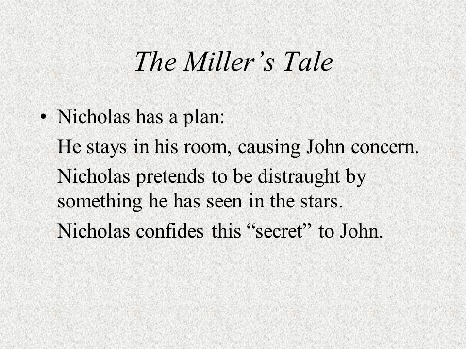 The Miller's Tale Nicholas has a plan: He stays in his room, causing John concern.