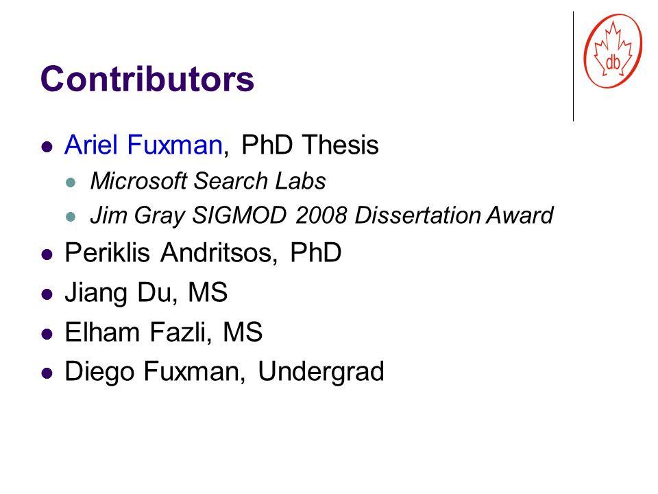 Contributors Ariel Fuxman, PhD Thesis Microsoft Search Labs Jim Gray SIGMOD 2008 Dissertation Award Periklis Andritsos, PhD Jiang Du, MS Elham Fazli, MS Diego Fuxman, Undergrad