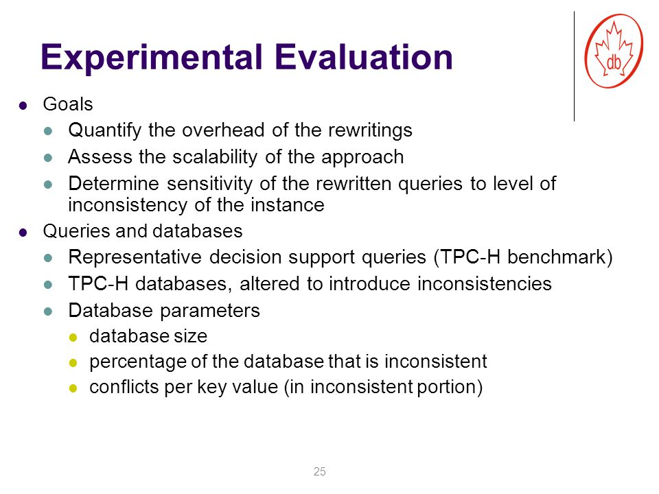 Experimental Evaluation Goals Quantify the overhead of the rewritings Assess the scalability of the approach Determine sensitivity of the rewritten queries to level of inconsistency of the instance Queries and databases Representative decision support queries (TPC-H benchmark) TPC-H databases, altered to introduce inconsistencies Database parameters database size percentage of the database that is inconsistent conflicts per key value (in inconsistent portion) 25