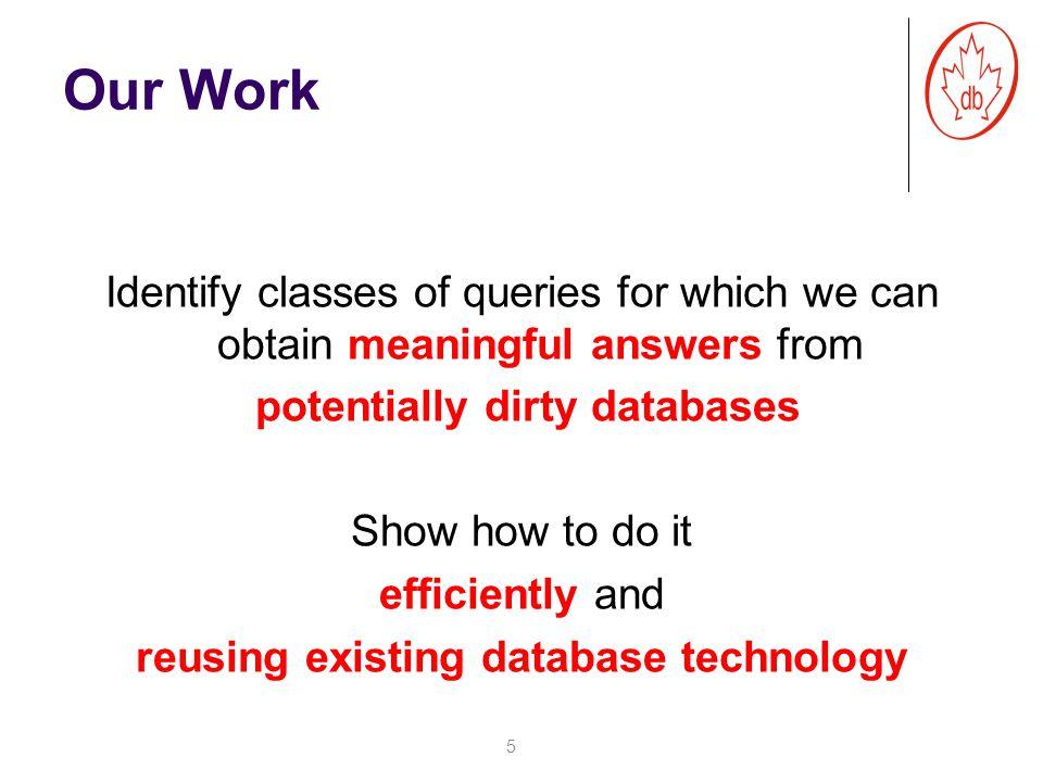 16 sales web sales/web sales web Inconsistent database Repairs Key: custid Consistent Answers