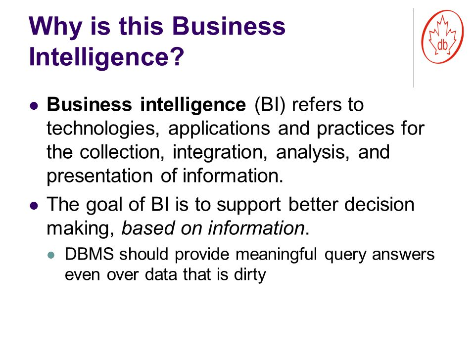 Why is this Business Intelligence.