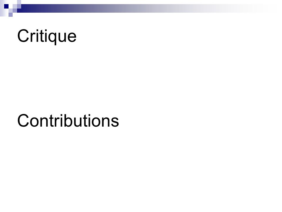 Critique Contributions