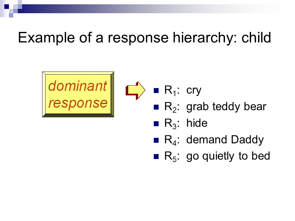 Example of a response hierarchy: child R 1 : cry R 2 : grab teddy bear R 3 : hide R 4 : demand Daddy R 5 : go quietly to bed