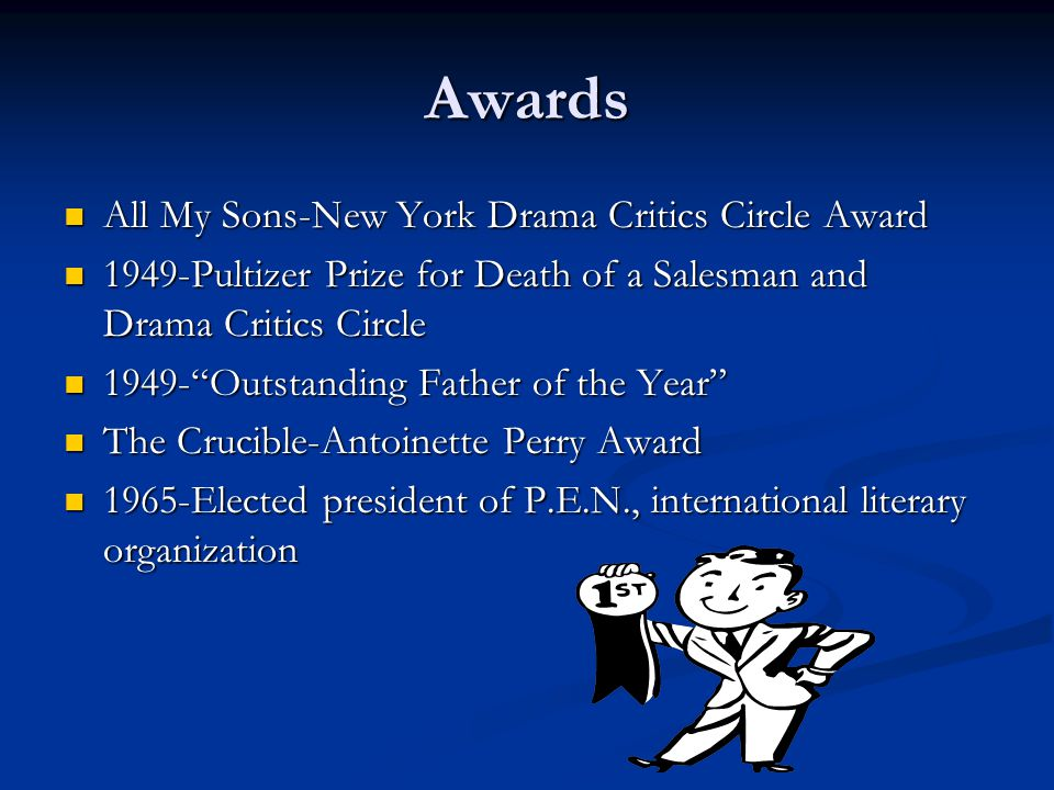 Awards All My Sons-New York Drama Critics Circle Award All My Sons-New York Drama Critics Circle Award 1949-Pultizer Prize for Death of a Salesman and
