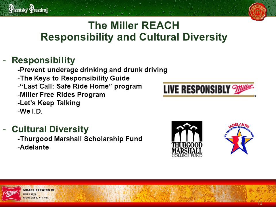 12 -Responsibility -Prevent underage drinking and drunk driving -The Keys to Responsibility Guide - Last Call: Safe Ride Home program -Miller Free Rides Program -Let's Keep Talking -We I.D.