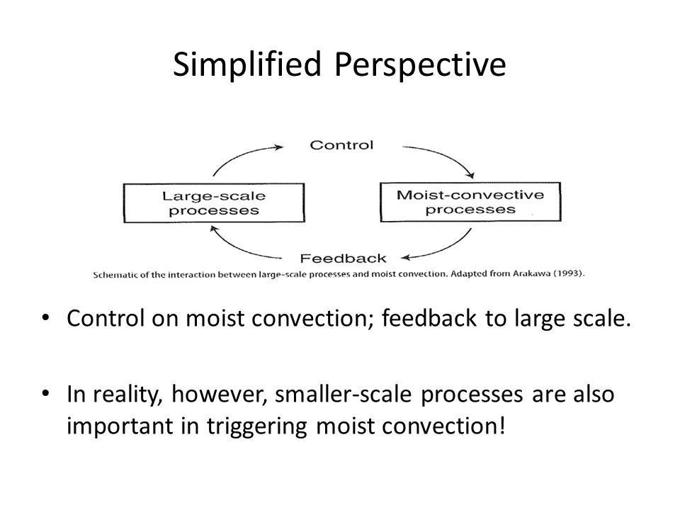 Simplified Perspective Control on moist convection; feedback to large scale.