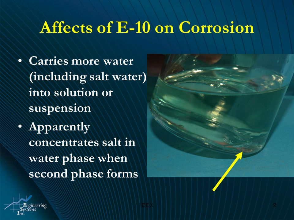 IBEX9 Affects of E-10 on Corrosion Carries more water (including salt water) into solution or suspension Apparently concentrates salt in water phase when second phase forms