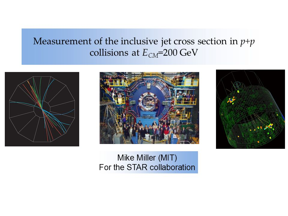 Measurement of the inclusive jet cross section in p+p collisions at E CM =200 GeV Mike Miller (MIT) For the STAR collaboration