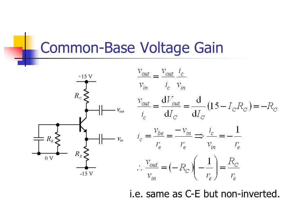 Common-Base Voltage Gain i.e. same as C-E but non-inverted.
