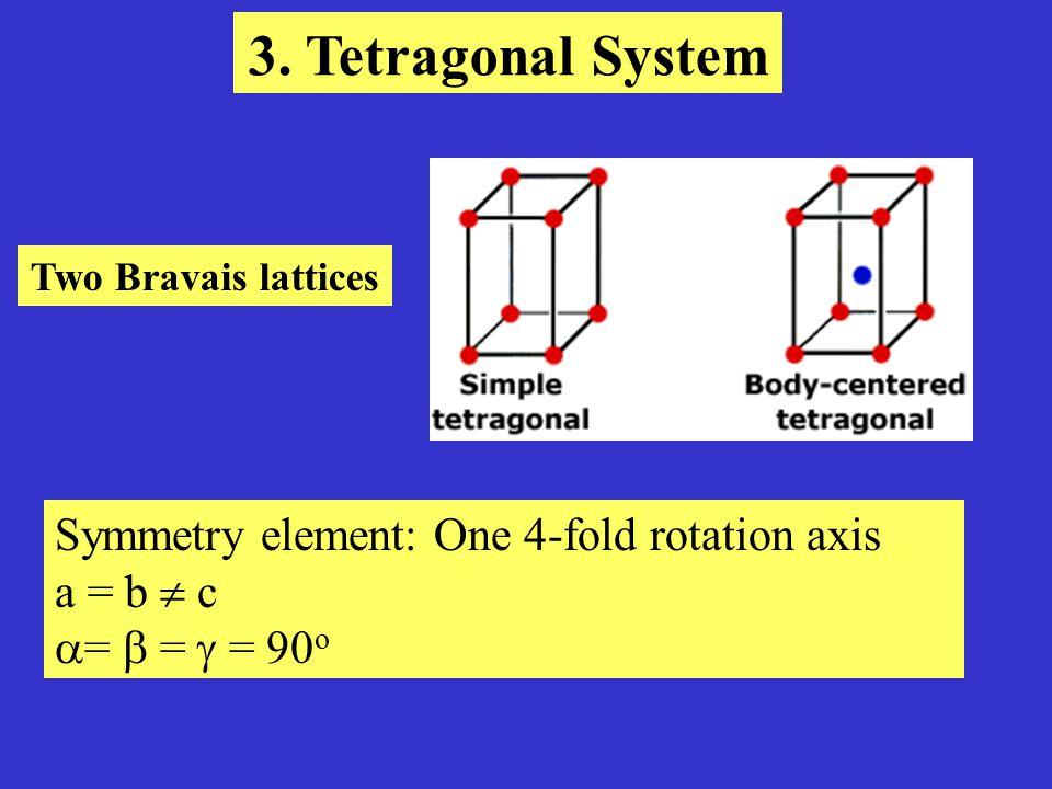 Symmetry element: One 3-fold rotation axis a = b  c  = 120 o  =  = 90 o 4.