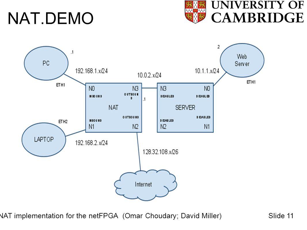 NAT.DEMO NAT implementation for the netFPGA (Omar Choudary; David Miller)Slide 11