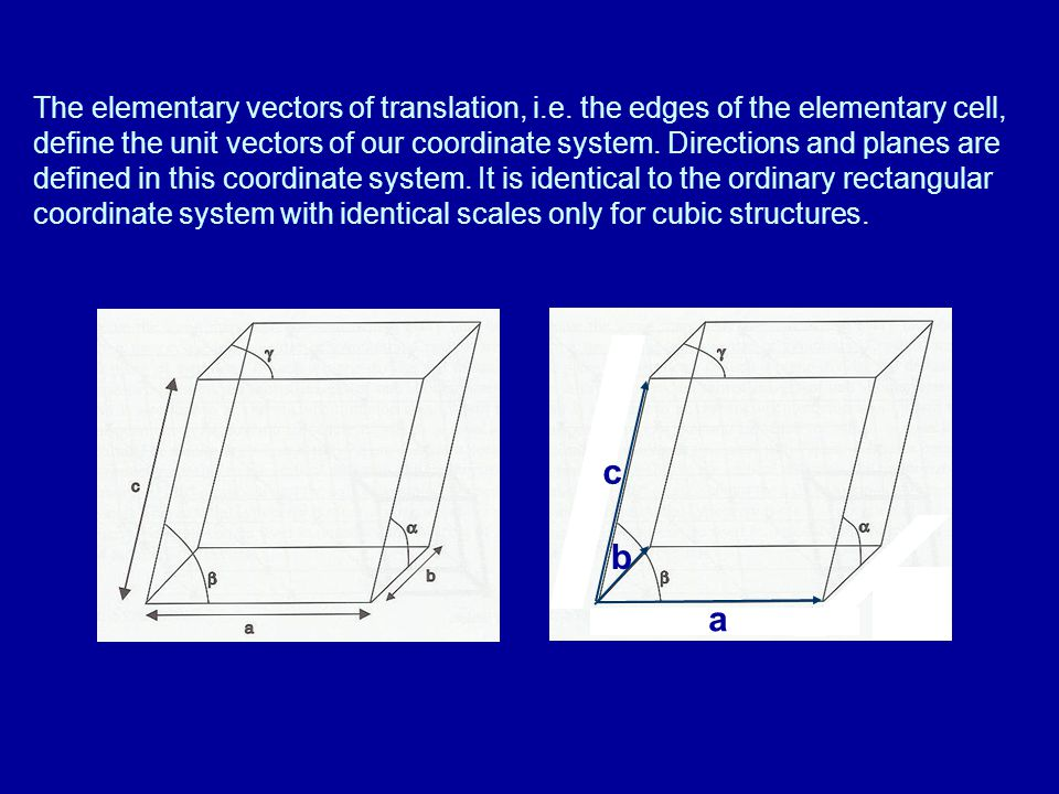 Defining directions and planes Directions defined by a vector: r = ua + vb + wc Usually we are interested in directions where u, v, w are small integers.