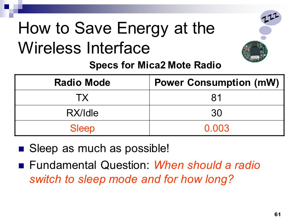 61 How to Save Energy at the Wireless Interface Sleep as much as possible.