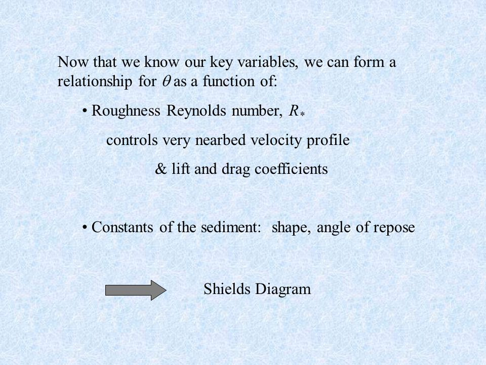 Now that we know our key variables, we can form a relationship for  as a function of: Roughness Reynolds number, R * controls very nearbed velocity profile & lift and drag coefficients Constants of the sediment: shape, angle of repose Shields Diagram