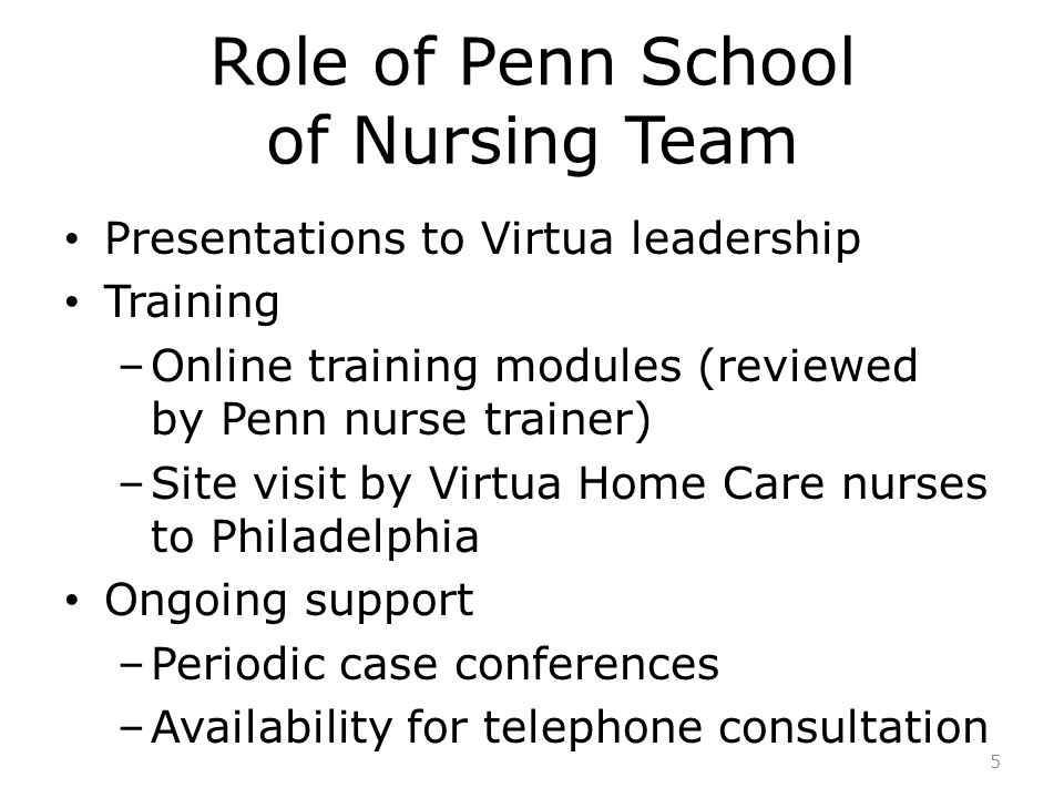 Role of Penn School of Nursing Team Presentations to Virtua leadership Training –Online training modules (reviewed by Penn nurse trainer) –Site visit by Virtua Home Care nurses to Philadelphia Ongoing support –Periodic case conferences –Availability for telephone consultation 5