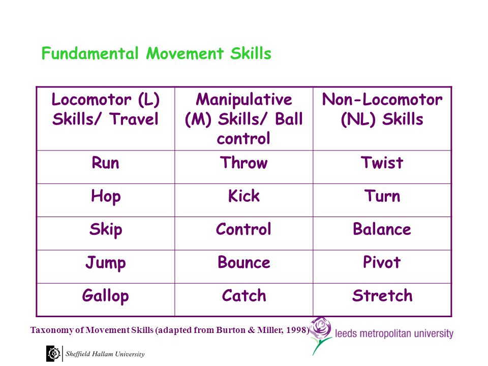 Fundamental Movement Skills Locomotor (L) Skills/ Travel Manipulative (M) Skills/ Ball control Non-Locomotor (NL) Skills RunThrowTwist HopKickTurn SkipControlBalance JumpBouncePivot GallopCatchStretch Taxonomy of Movement Skills (adapted from Burton & Miller, 1998)