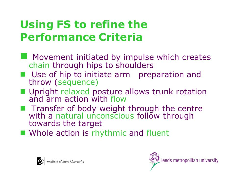 Using FS to refine the Performance Criteria Movement initiated by impulse which creates chain through hips to shoulders Use of hip to initiate arm pre