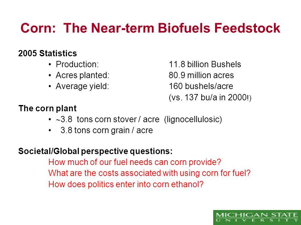 Corn: The Near-term Biofuels Feedstock 2005 Statistics Production:11.8 billion Bushels Acres planted:80.9 million acres Average yield:160 bushels/acre (vs.