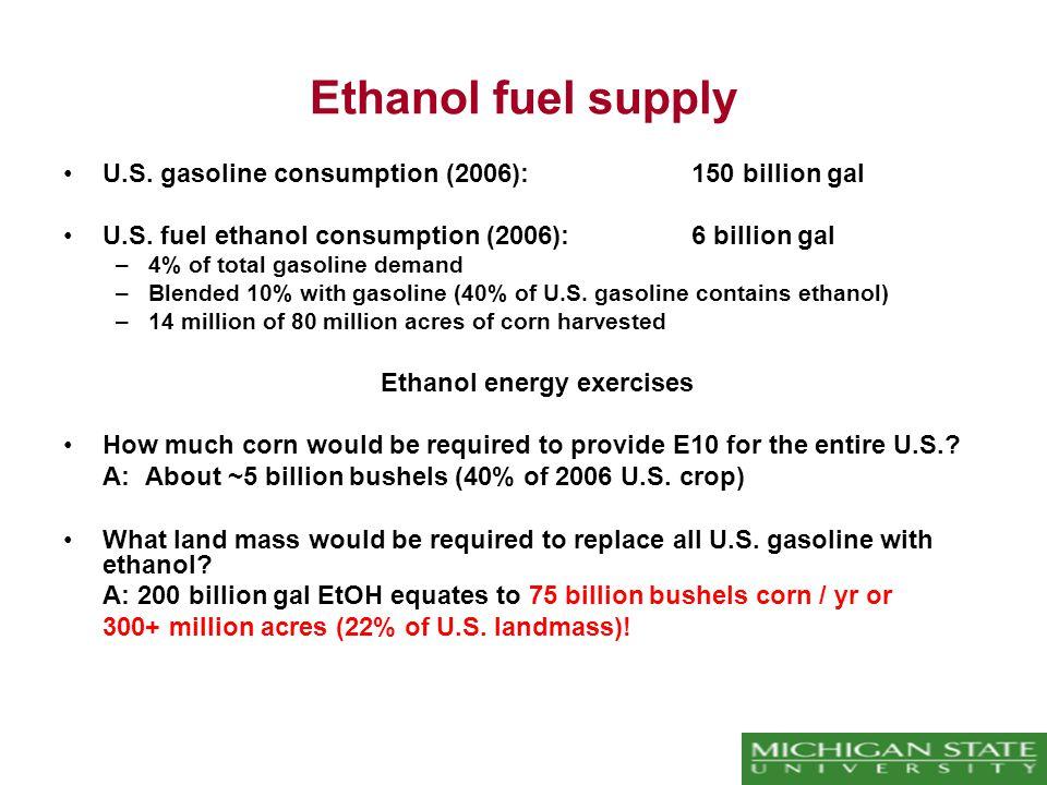 Ethanol fuel supply U.S.gasoline consumption (2006): 150 billion gal U.S.