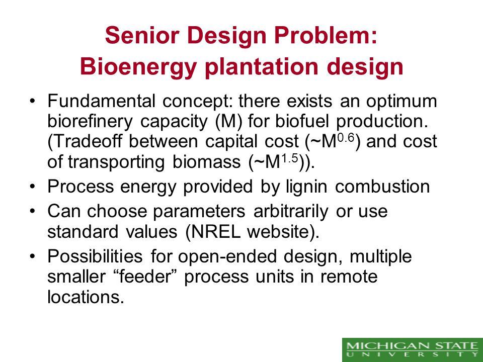 Senior Design Problem: Bioenergy plantation design Fundamental concept: there exists an optimum biorefinery capacity (M) for biofuel production.