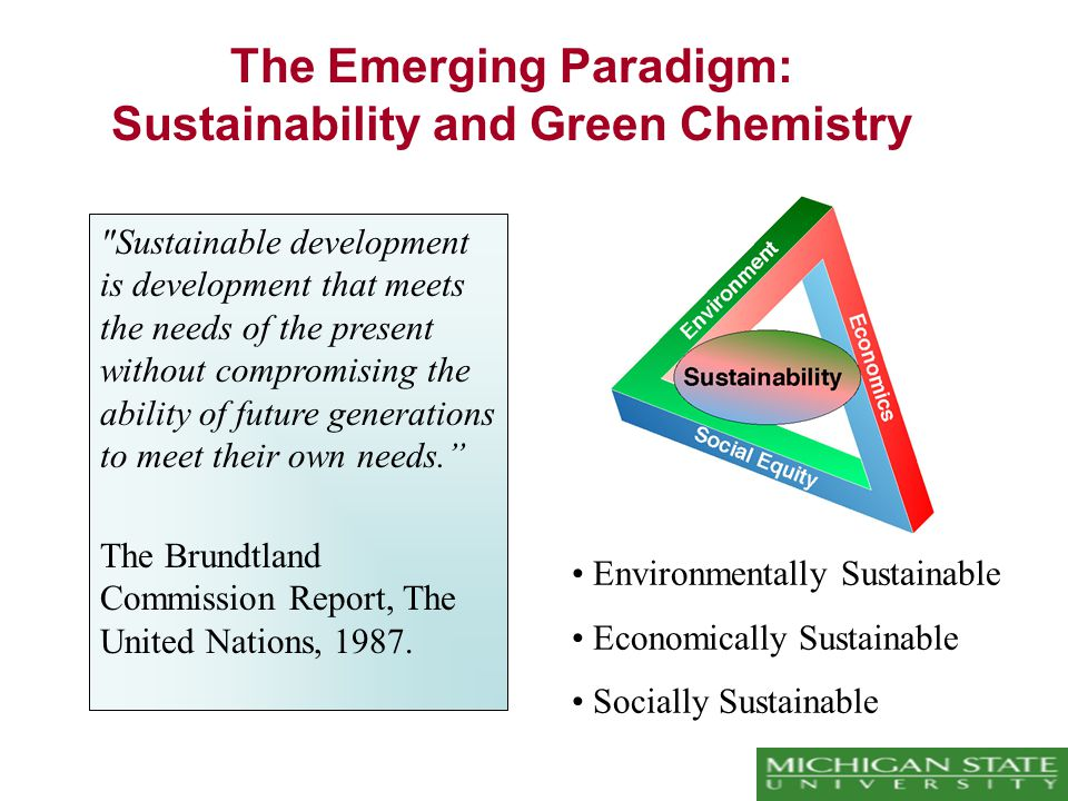 The Emerging Paradigm: Sustainability and Green Chemistry Sustainable development is development that meets the needs of the present without compromising the ability of future generations to meet their own needs. The Brundtland Commission Report, The United Nations, 1987.