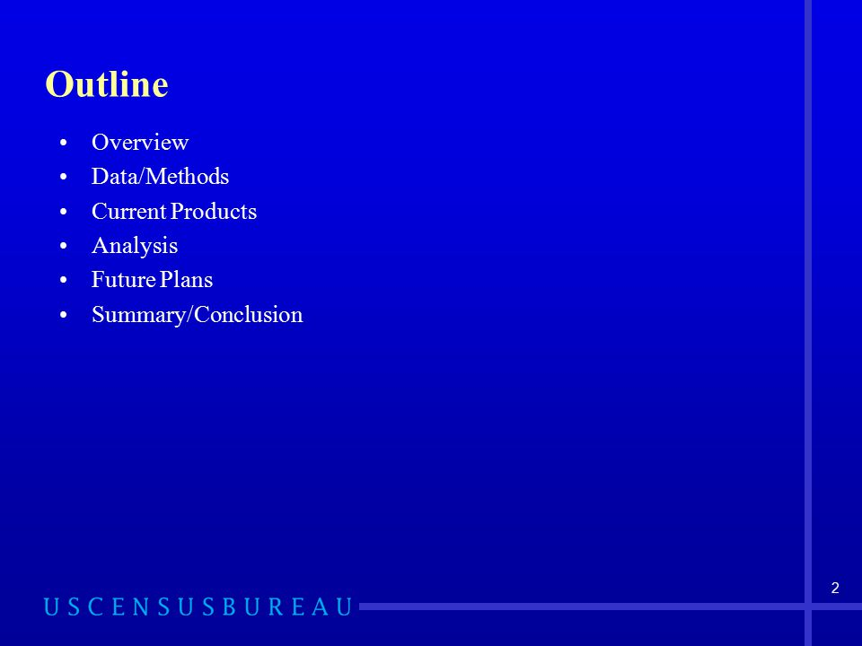 Outline Overview Data/Methods Current Products Analysis Future Plans Summary/Conclusion 2