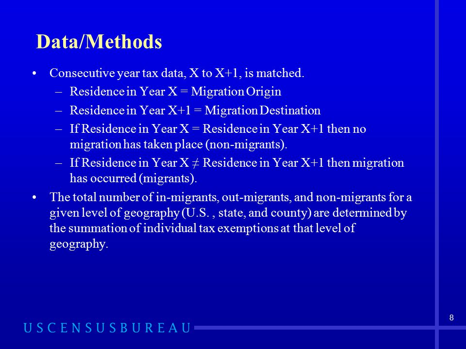 Data/Methods Consecutive year tax data, X to X+1, is matched.