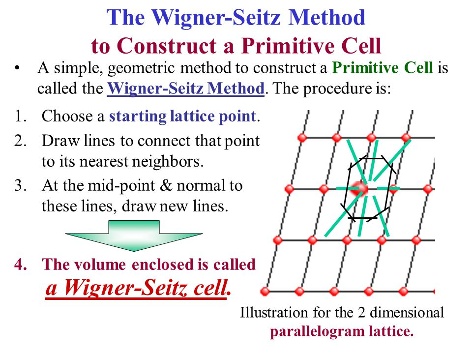 A simple, geometric method to construct a Primitive Cell is called the Wigner-Seitz Method. The procedure is: The Wigner-Seitz Method to Construct a P