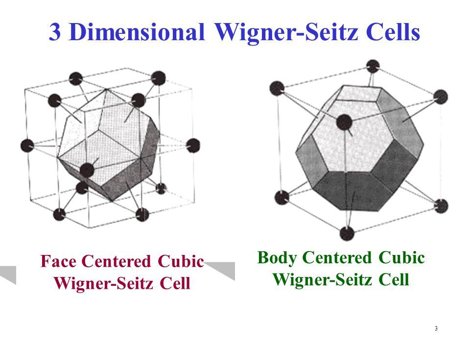 3 3 Dimensional Wigner-Seitz Cells Face Centered Cubic Wigner-Seitz Cell Body Centered Cubic Wigner-Seitz Cell
