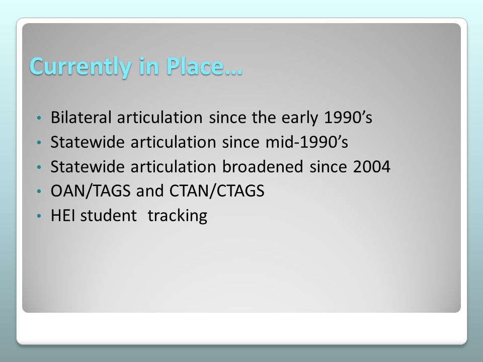 Currently in Place… Bilateral articulation since the early 1990's Statewide articulation since mid-1990's Statewide articulation broadened since 2004 OAN/TAGS and CTAN/CTAGS HEI student tracking